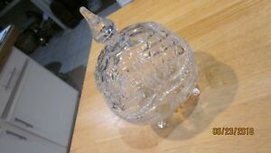 CRYSTAL-CLEAR-LEAD-CRYSTAL-LARGE-CUT-GLASS-CANDY-DISH-amp-LID-MADE-IN-POLAND