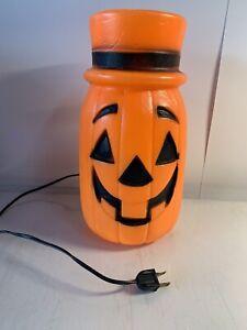 Vintage-Halloween-11-034-Pumpkin-Jack-O-Lantern-with-Top-Hat-Lighted-Blow-Mold