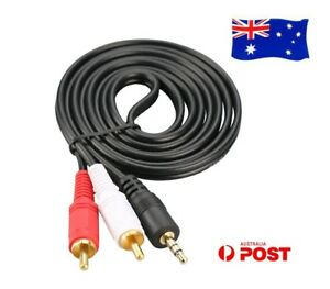 AUX-3-5mm-Male-To-2RCA-2-RCA-Stereo-Audio-Cable-for-iPad-iPhone-Gold-Plated-Cord