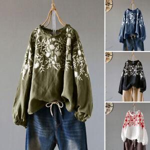ZANZEA-Women-Casual-Embroidered-Floral-Blouse-Tee-Shirt-Vintage-Retro-Ladies-Top