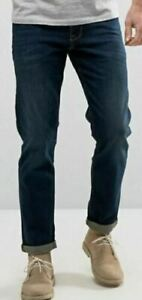 Men-s-New-ASOS-Regular-Tapered-Jeans-Size-W33-L32-Dark-Blue