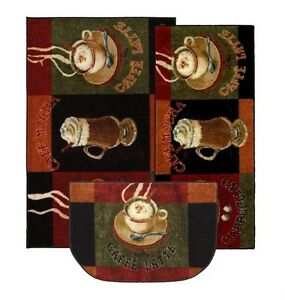 Kitchen rug set caffe latte coffee themed floor cover mats piece home
