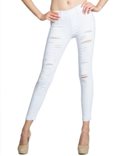 CASPAR KHS039 Damen Super Skinny Stretch Hose lang mit Rissen Destroyed Look