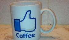 facebook like coffee mug 11 ounce white ceramic cup thumbs up