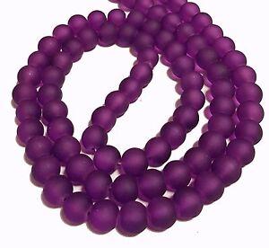 Gefrostete-Glasperlen-Violett-Lila-RUND-10mm-Matt-Strange-Vereist-Perle-BEST-R62