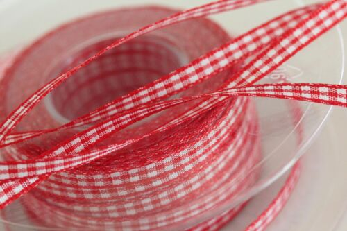 20 Metres Quality RED #15 BERISFORD Gingham Check Red Ribbon 5mm CHRISTMAS RED