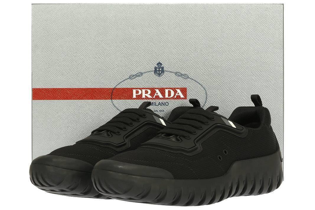NEW PRADA MEN'S BLACK MESH RUBBER LOGO SNEAKERS SHOES 10/US 11