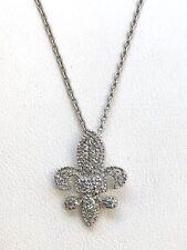 14k White Gold Diamond Fleur De Lis Pendant