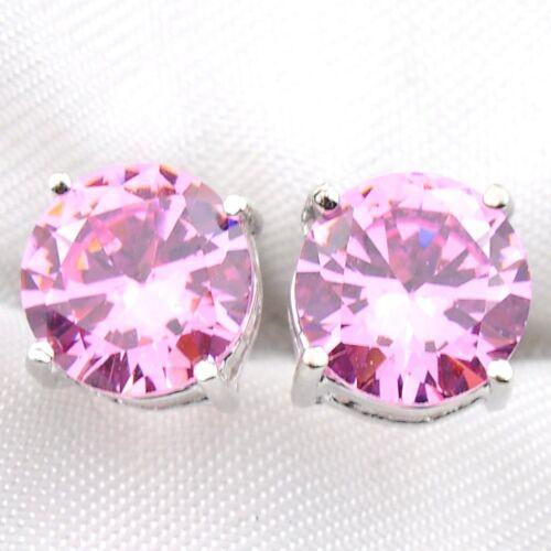 Dernier round Shine Pink Topaz Zircon Cubique Pierre Précieuse Argent Clous D/'Oreilles