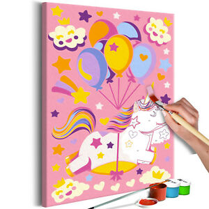 malen nach zahlen kinder einhorn wandbilder xxl malset mit pinsel n a 0193 d a ebay. Black Bedroom Furniture Sets. Home Design Ideas