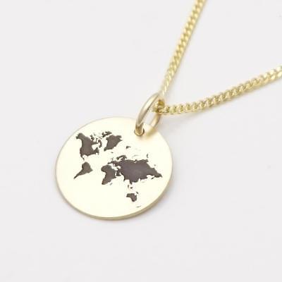 Echt Gold Kette mit Gravur Weltkarte Anhänger Weltkugel Globus Initialen GONC84 | eBay