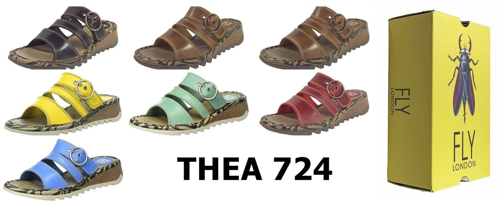 Fly London Ladies Thea724 Brooklyn Leather Strap Comfy THEA Sandals