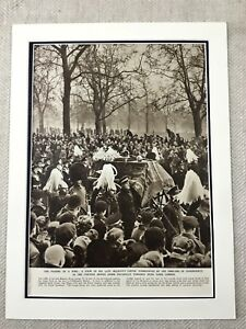 1952-Vintage-Stampa-British-Royalty-King-George-IV-Funeral-Procession-Londra