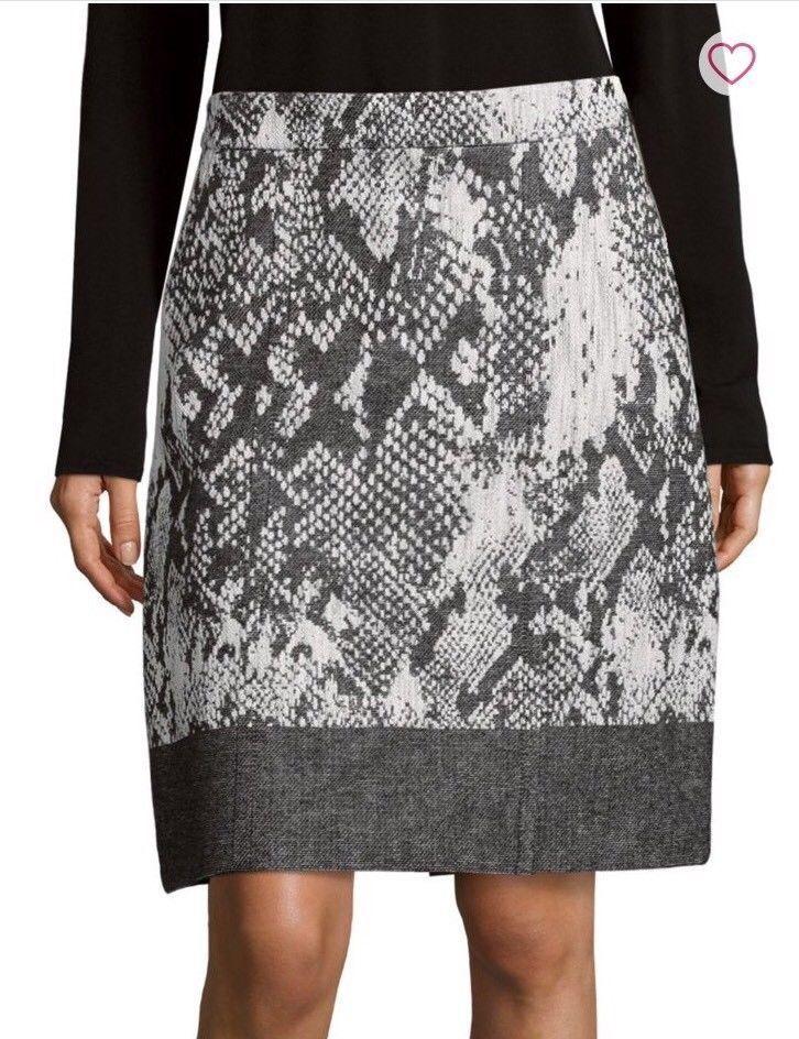 NWT Hugo Boss Vaneki Snakeskin Jacquard Skirt Size US 10  385
