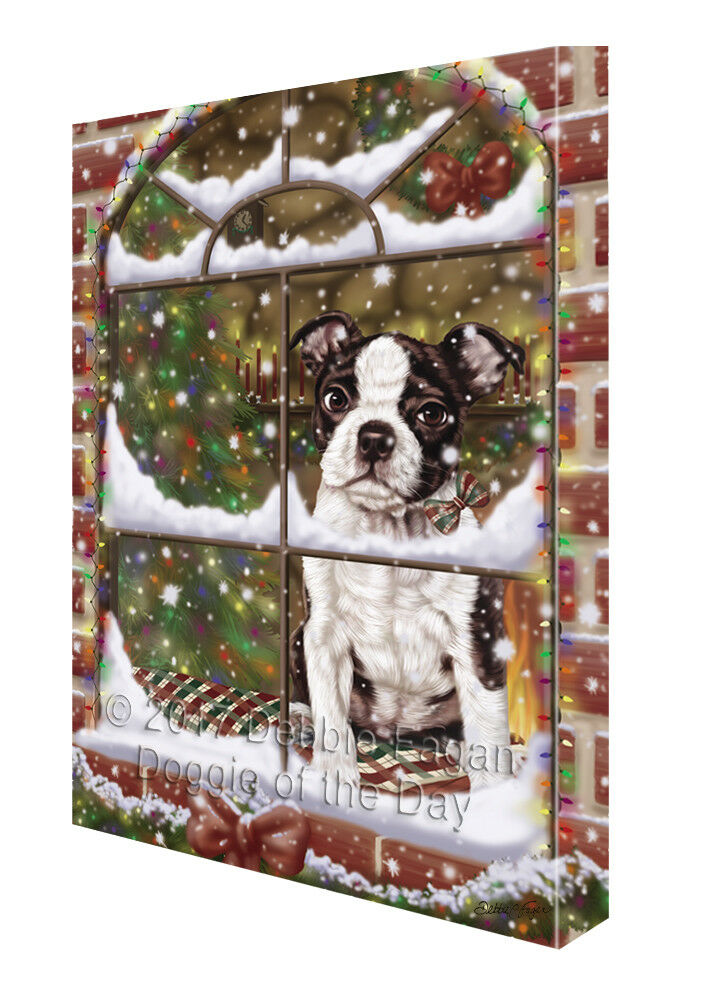 Please Come Home For Christmas Boston Terriers Dog In Window Canvas Wall Art