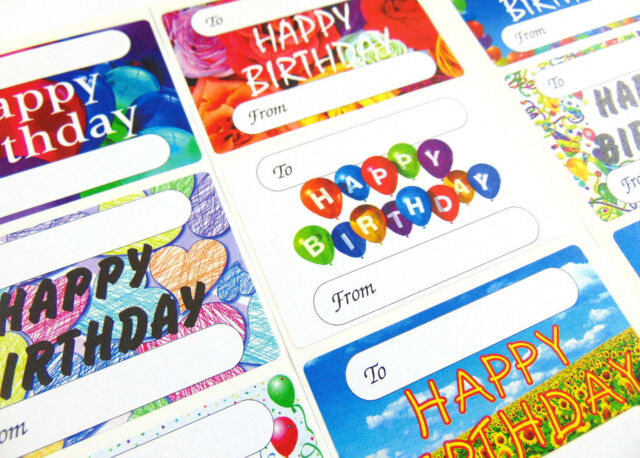 Happy Birthday Gift And Present Tags Self Adhesive Labels 9 Designs GTHB9
