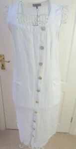 BNWT-White-SAHARA-Ana-Linen-Dress-Size-S-Sleeveless-Pinafore-Pockets-RRP-149