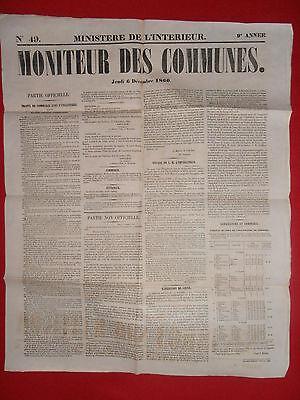 Journal Le Moniteur Des Communes Ministere De L'interieur N°49 6 Decembre 1860