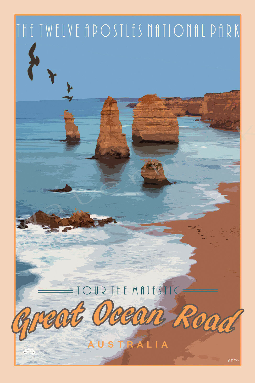 Iconic Great Ocean Road Scenic Travel Print. Limited Edition of 250 Signed Art
