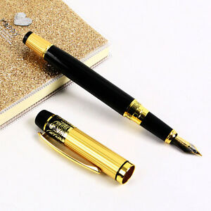 Hot-HERO-901-Medium-Nib-Pens-Fountain-Pen-Luxury-Black-amp-Gold-Stainless-Classic