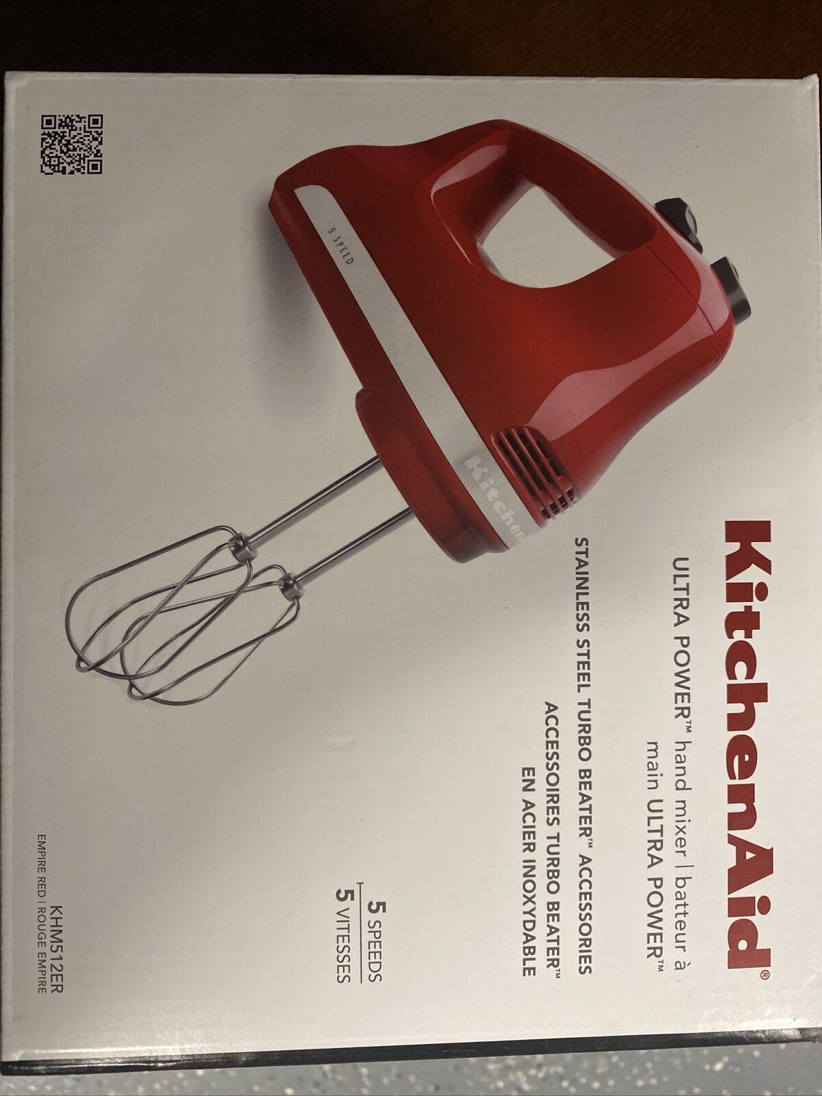 Renewed Empire Red KitchenAid RRKHM5ER 5-Speed Ultra Power Hand Mixer