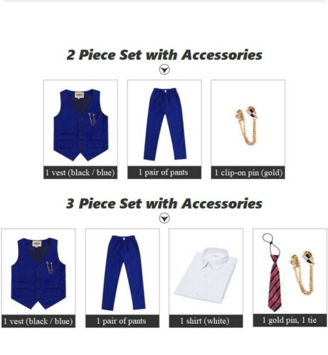 5-Piece Set High Quality Kids Boys Formal Button-Up Vest Shirt Pants Pin Tie ZG8