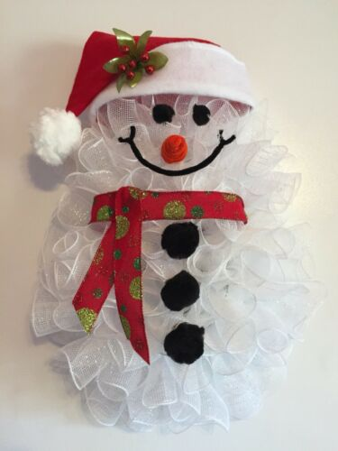 "24"" x 17"" Handmade Winter//Christmas Deco Mesh Snowman Wreath With Santa Hat"