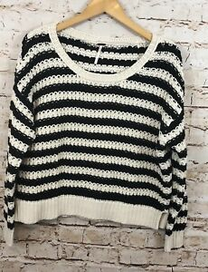 339ab2ec9 Free people sweater womens XS black white stripe cropped chunky ...