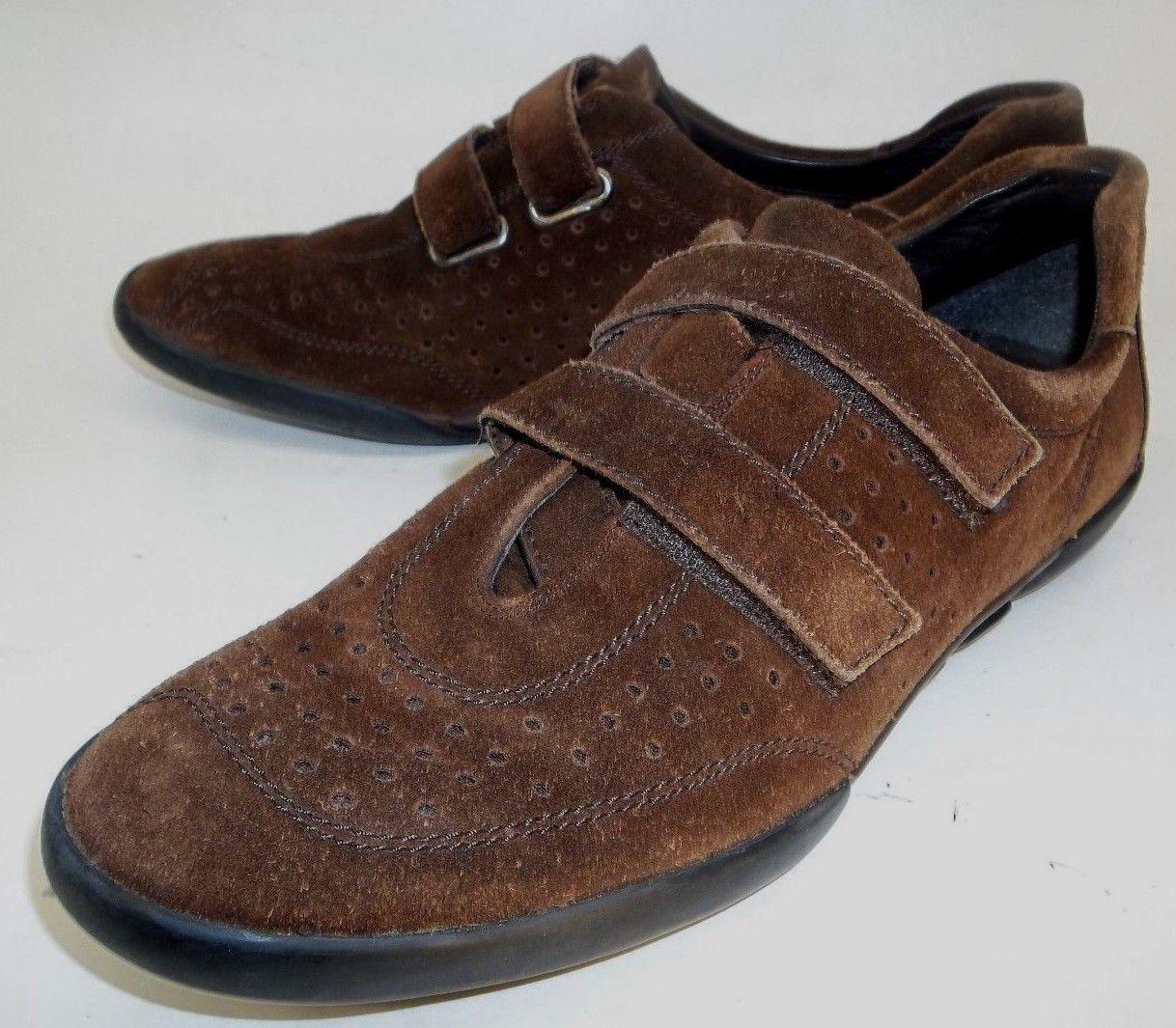 Stuart Weitzman Womens Shoes Walking US 9.5 Brown Suede Slip-on Hook Loop