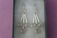 Beautiful Silver Earrings With Rose Quatz 8.7 Gr.3.8 Cm. Long +Hooks In Box