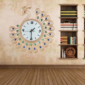 Image Is Loading Large Peacock Wall Clock Decor Art Modern Living