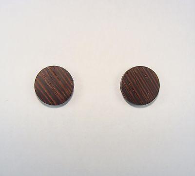 Wenge Wood Round Stud Earrings ~ 3//8 Inch ~ Handmade to Order