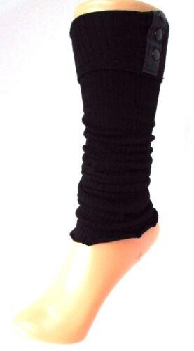 GUÊTRES CHEVILLERES jersey côtelé noir boutons YELLOW MOON fille ado enfant NEUF