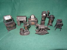 Lot Of 8 Vintage 1970's Durham Industries Die-cast Metal Dollhouse Miniatures