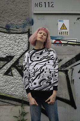 Di Larghe Vedute Donna Maglione Jumper Taglio Lungo 80er True Vintage 80s Woman Sweater Nero Bianco-mostra Il Titolo Originale