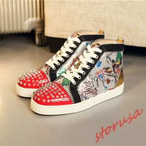 Homme-Sequin-Haut-Top-Chaussures-Floral-Strass-Rivets-Plateau-bout-rond-Rivets-Chaussures