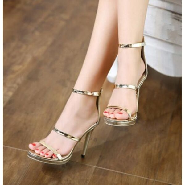 Damens's Sandales 13 cm elegant stiletto gold gold gold comfortable like Leder CW577 b58aa8