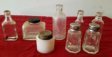Lot of 8 Antique Clear Glass Bottles Milk Glass Ponds Listerine Salt Pepper Ink