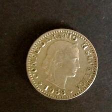 """Münze 20 Rappen Schweizer Franken 1953 """"B"""" aus Umlauf gültiges Zahlungsmittel"""