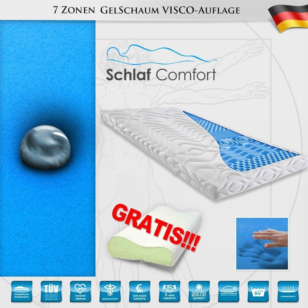 Visco Topper  Gelschaum  Matratzenauflage 7 Zonen Topper 90x200x6cm + Kissen