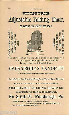 1876 Advert Adjustable Folding Chair Co Pittaburgh 3 6th Street Online Shop