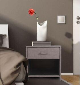 classique gris tapisse 1 table chevet a tiroirs