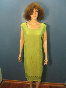 Details about plus size 26W green zip up retro sheath dress by STUDIO C -  paisley trim