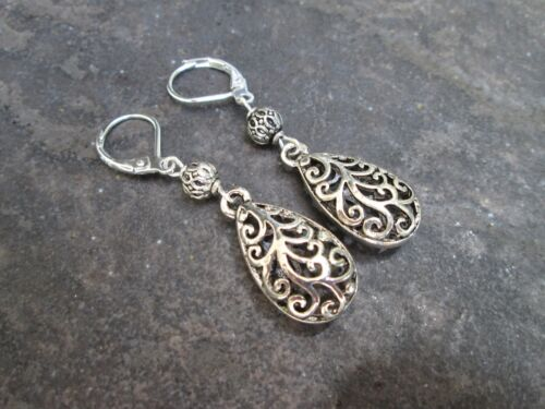 Silver Filigree Teardrop Earrings with Sterling Silver Leverbacks