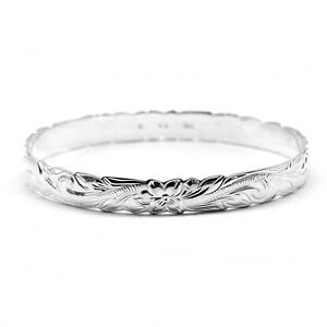 Details About 925 Sterling Silver Hawaiian Bangle 6mm Bracelet Plumeria Engraved Hibiscus
