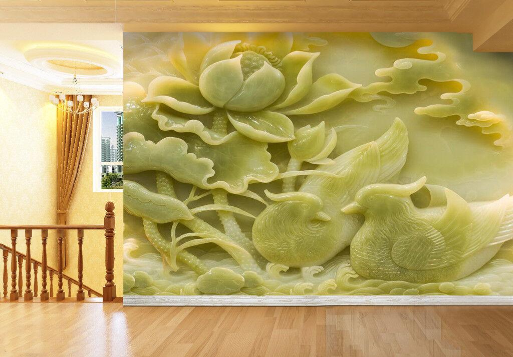 3D Grünes Lotusblatt 67 Tapete Tapeten Mauer Foto Familie Tapete Wandgemälde DE