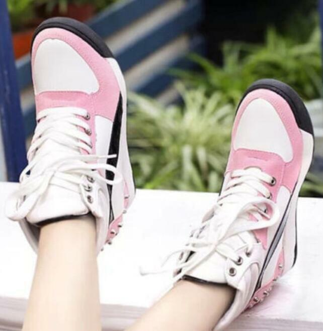 Womens Trainer Rivets Hidden Wedge Heel  Leisure High Top shoes Lace Up Sneakers