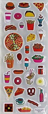 Park Lane FOOD Stickers HAMBURGER HOTDOG TACO FRIES PIZZA MORE 2 SHEETS