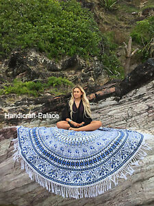 Image Is Loading  Round Mandala Indian Bohemian Elephant Tapestry Beach Picnic