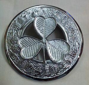 Kilt Mouche Plaid Broche Trèfle Irlandais Finition Antique//Broche Chardon